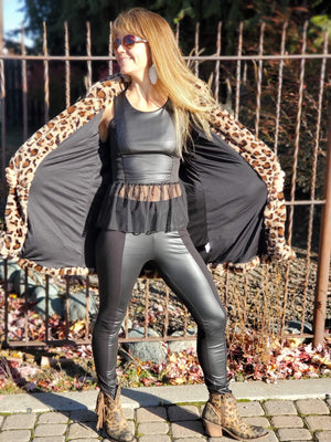 Faux Leather Front Cotton Leggings in Black