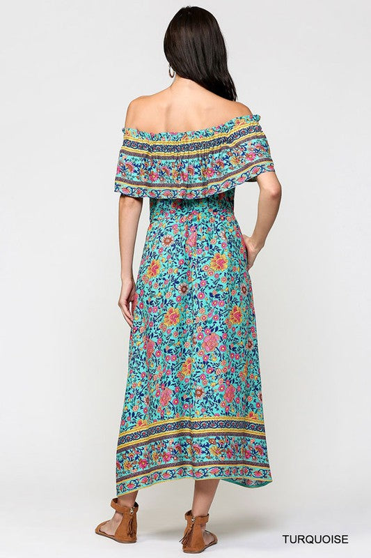 Ethnic Border Print Turquoise Dress with Elastic Shoulder - tempting-teal-boutique