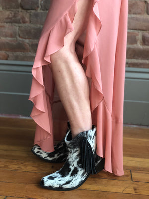 Ankle Cowhide Salt and Pepper Fringe Cowboy Boots