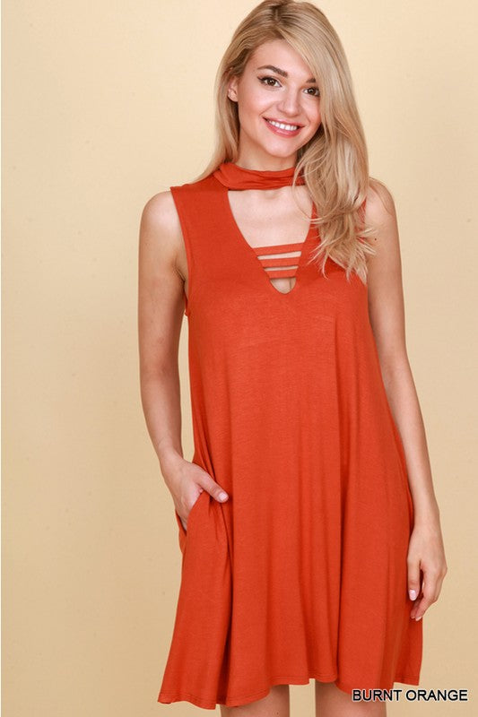 Burnt Orange Dress with Dee V-Neckline