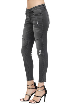 KanCan Low Rise Super Skinny Moto Jeans in Black Wash