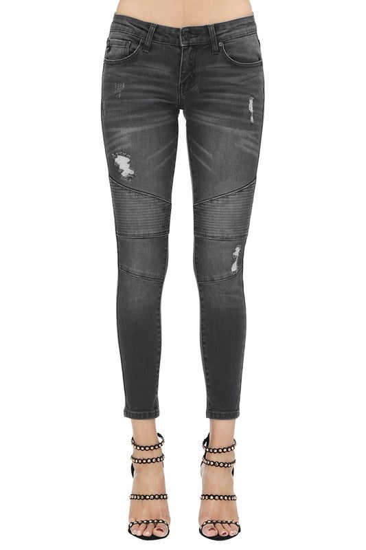 KanCan Low Rise Super Skinny Moto Jeans in Black Wash - tempting-teal-boutique