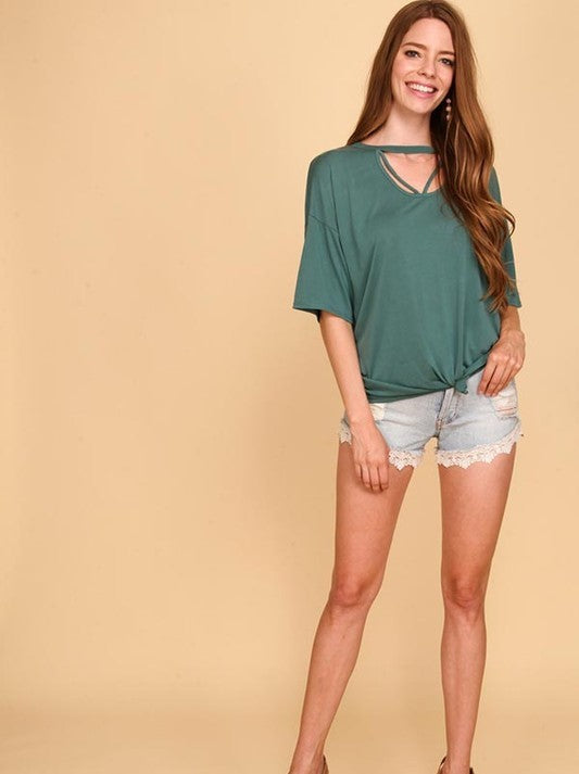 Drop Shoulder Over Sized Top in Hunter Green