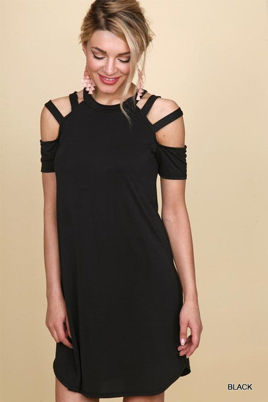 Crew Neckline Dress with Cut-Out Shoulders in Black
