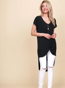 High Low Top w/ Front Twist in Black