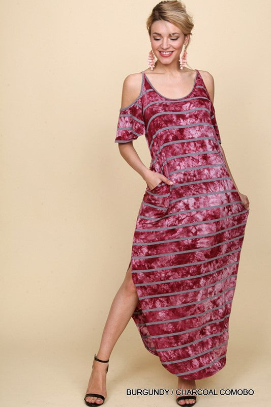 Striped Tie Dye Cold Shoulder Maxi Dress in Burgundy and Charcoal