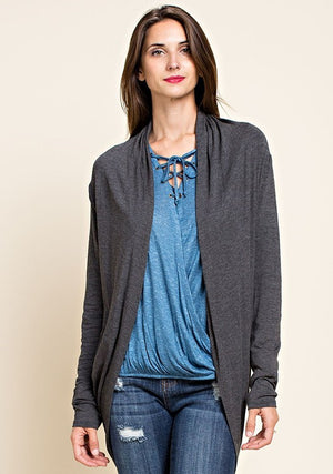 Charcoal Open Front Draping Cardigan