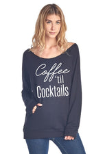 Coffee 'til Cocktails Graphic Top in Black - tempting-teal-boutique