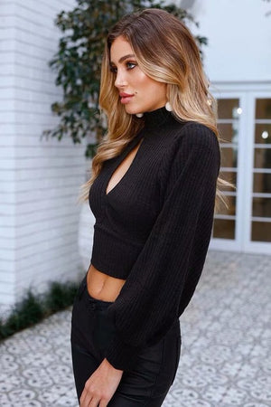 Cropped Black Sweater w/ Front Peephole and Open Back - tempting-teal-boutique