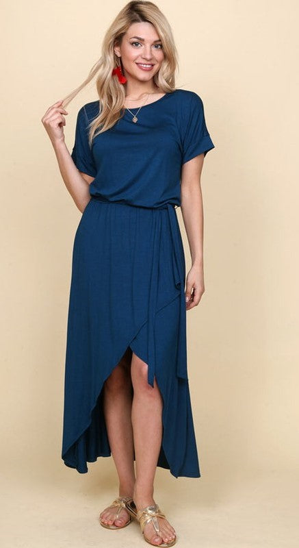 Blouson Top High Low Dress in Teal