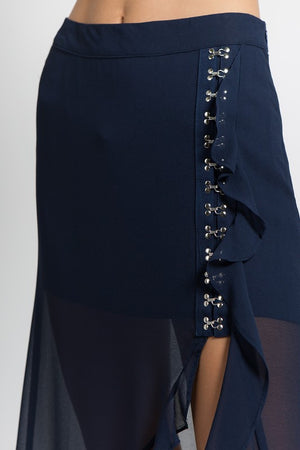 Chiffon Hook & Eye Ruffle Skirt in Navy