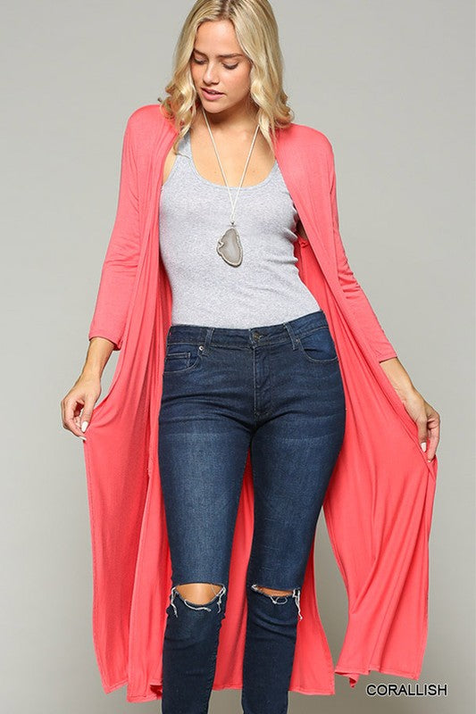 Duster Cardigan w/ Laser Cut Back Detail