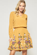 Long Sleeve Embroidered Dress in Marigold