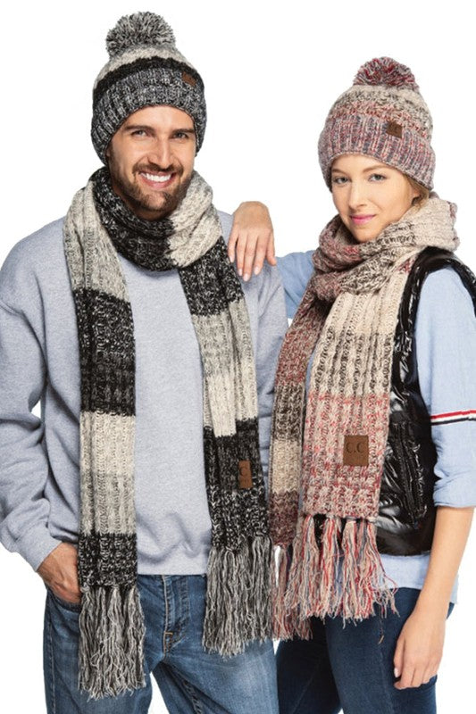 C.C. Beanie Multicolor Knit Scarf