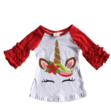 Kids Ruffle Sleeve Unicorn Top
