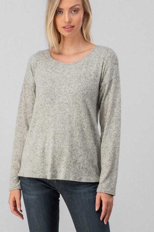 Brushed Hacci Twist Open Back Top in Heather Grey