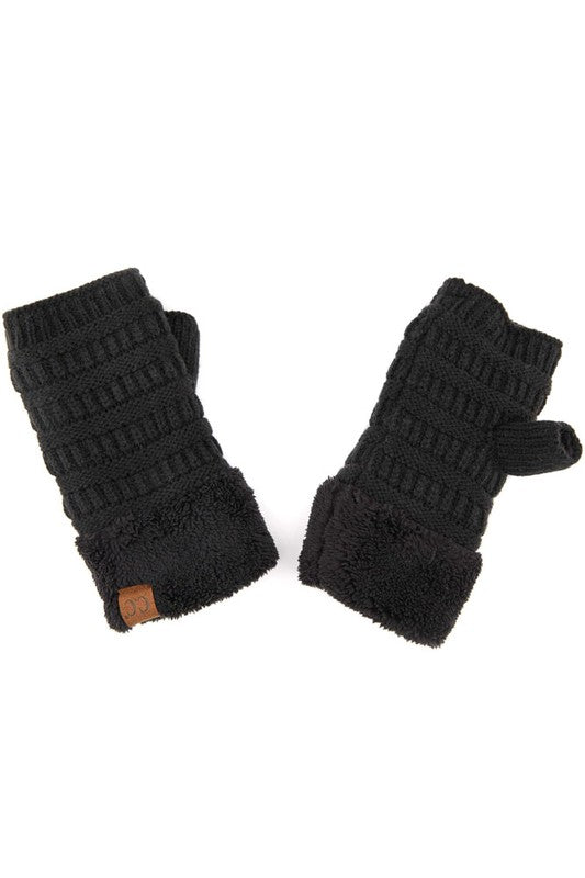 CC Knitted Fingerless Gloves w/ Sherpa Lining - tempting-teal-boutique