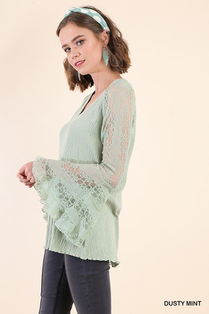 Sheer Lace Bell Sleeves V-Neck Top in Mint or Stawberry - tempting-teal-boutique