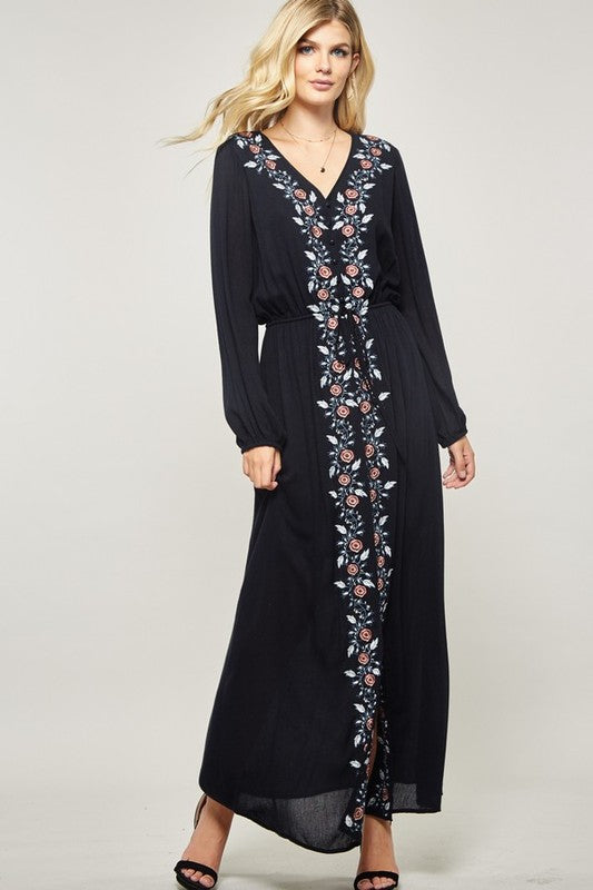 Navy Blue Dress with White Floral Embroidery