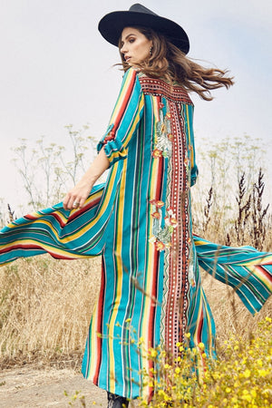Serape Maxi Shirt Dress w/ Cactus Embroidery - tempting-teal-boutique