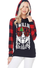 I Willie Love Christmas Graphic Top with Hood in Black - tempting-teal-boutique