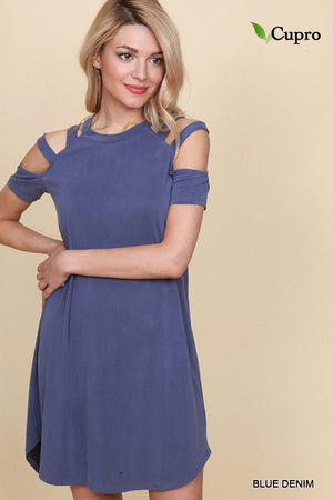 Crew Neckline Dress with Cut-Out Shoulders in Blue Denim