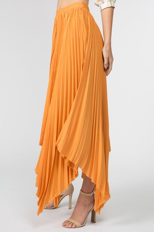 69561526c9de5f Pleated Flowy Maxi Skirt in Mango – Tempting Teal Boutique