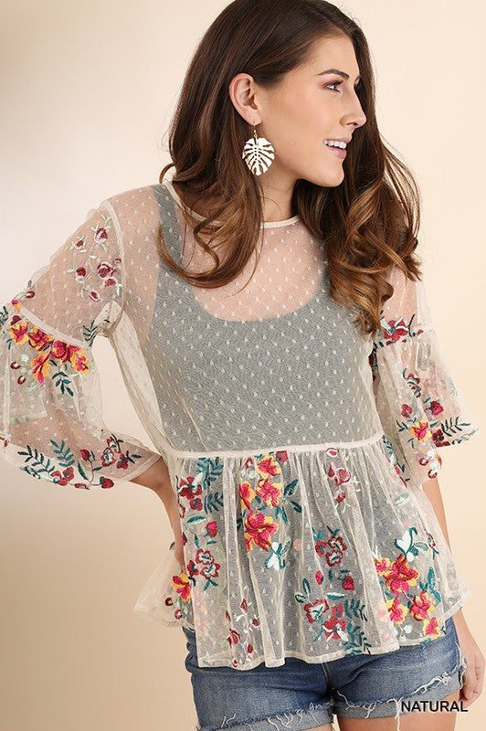 Sheer Polka Dot Babydoll Top with Bell Sleeves in Natural