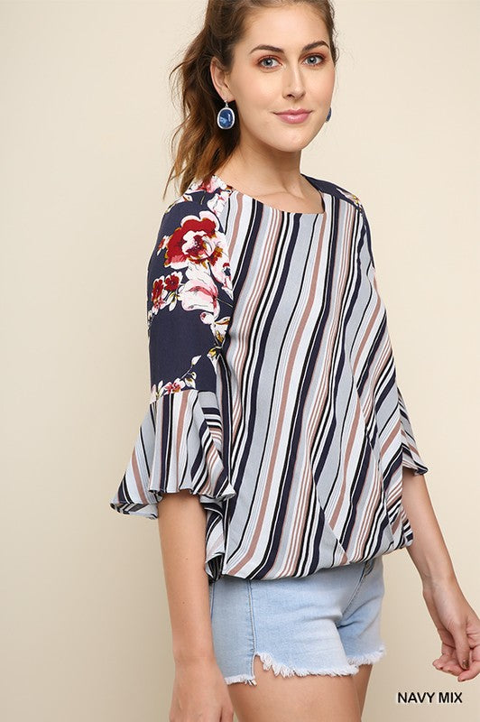 Striped and Floral Print Bell Sleeve in Navy Mix