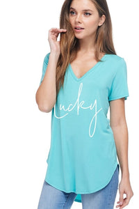 Lucky Graphic Top in Mint