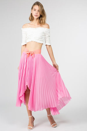 Sweet Pink Pleated Maxi Skirt - tempting-teal-boutique