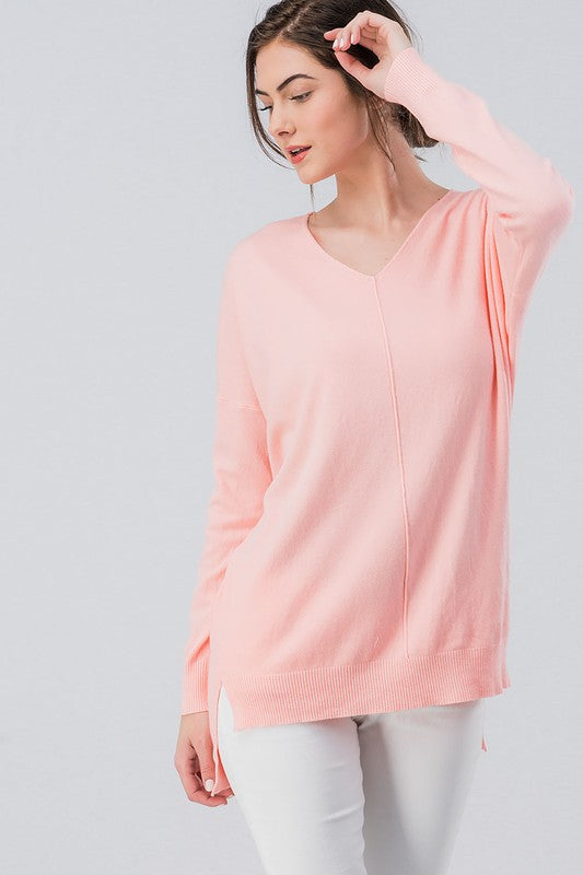 High-Low Tunic Sweater in Assorted Pastel Colors