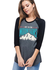 Mountains Graphic Top in Black