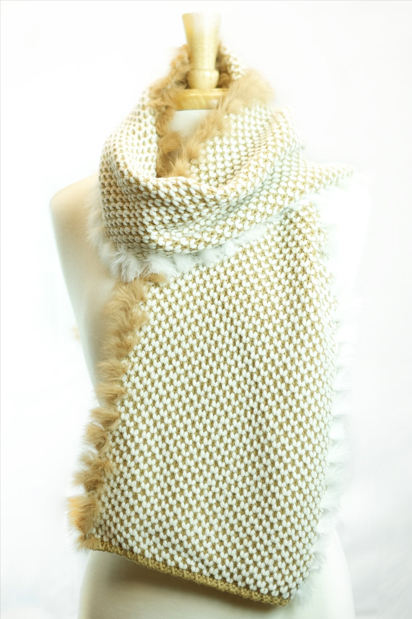 MontanaCo Hailey Infinity Scarf in Camel/Cream