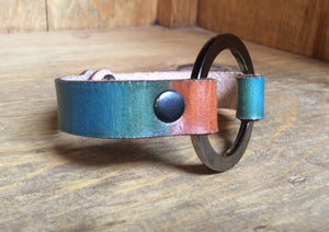 SXS Leather Snap On Cuff w/ Metal Ring