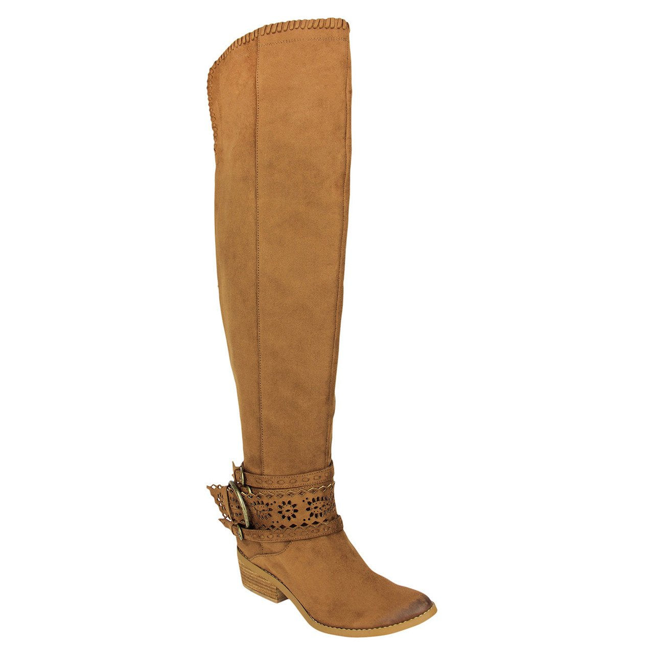 Over the knee tan boots with harness detail front view.