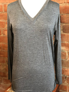V-Neck Long Sleeve Basic Tee in Charcoal