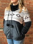Black w/ Pink and White Aztec Panel Plush Fleece Full Zip Jacket