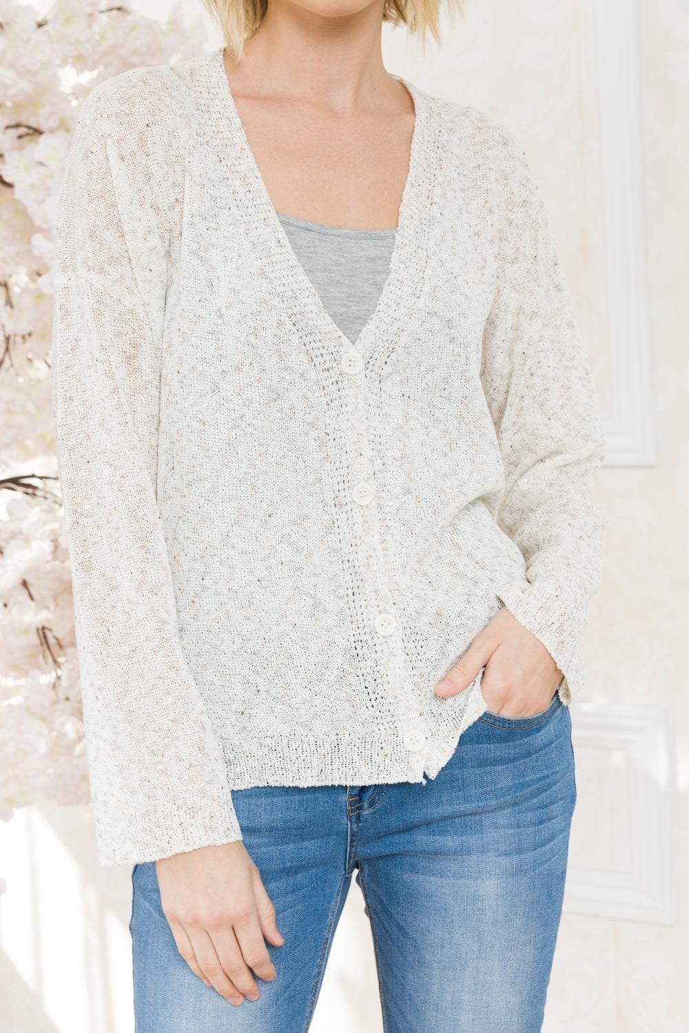 Melange Button Up Cardigan in Ivory