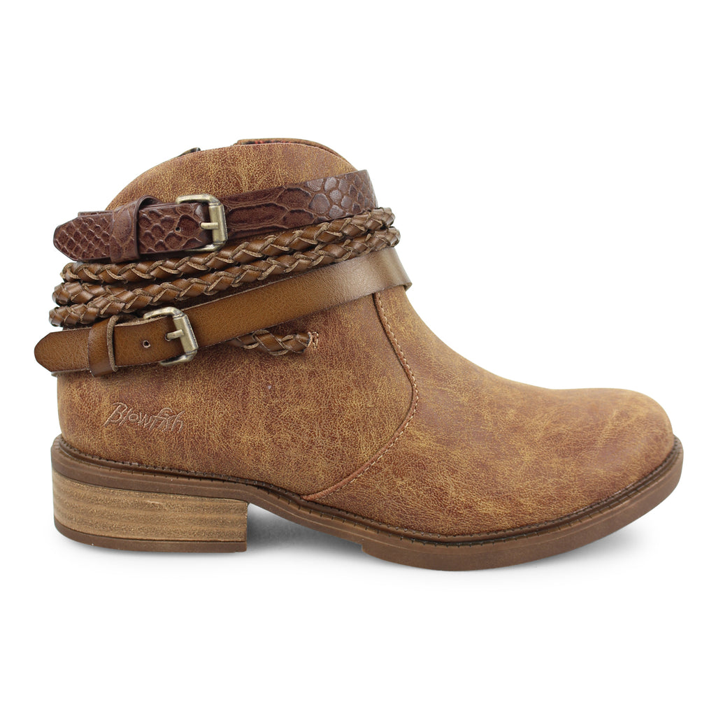 Ankle Bootie w/ Detail Straps in Tobacco Brown from Blowfish