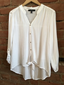 White Button down Tie Front Top