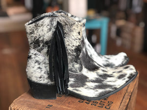 Ankle Cowhide Salt and Pepper Fringe Cowboy Boots - tempting-teal-boutique