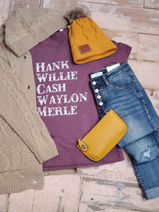 Country Legends Graphic Tee in Heather Plum - tempting-teal-boutique