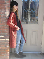 Heathered Knit Long Sleeve Cardigan in Chili Powder - tempting-teal-boutique