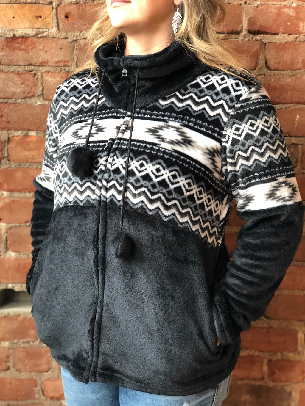 Black Aztec Print Plush Fleece Full Zip Jacket