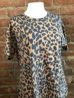 Leopard Print Basic Boyfriend Top