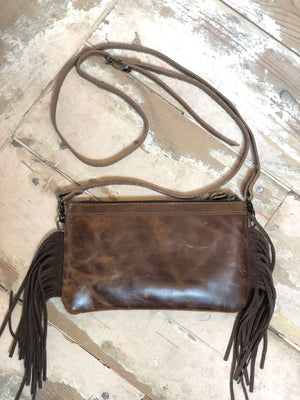 Brown and White Cowhide with Brown Fringe Crossbody - tempting-teal-boutique
