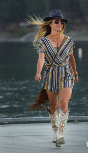 Striped Romper w/ Front Tie Belt