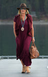 Maxi Dress w/ Extended Sleeves and a V Back Twist
