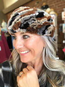 Knitted Rabbit Fur Headband in Multi-Colors